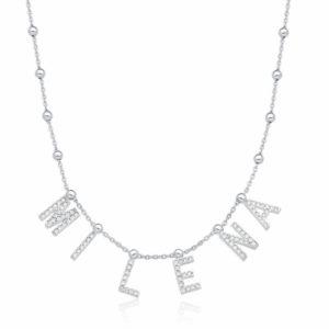Colar Personalizado Letras Prata 925 c/ Banho Ródio