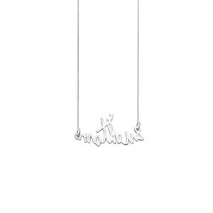 Colar Letrinhas à Mão Prata 925 c/ Banho Ródio