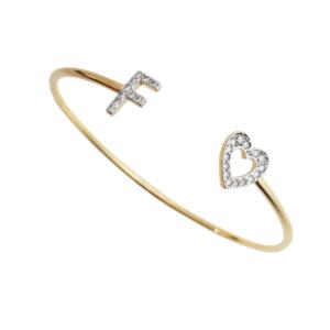 Bracelete c/ Inicial Prata 925 c/ Banho Ouro 18k