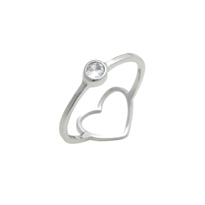 Anel Coração Vazado Prata 925 c/ Ródio