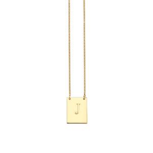 Colar Placa Inicial Prata 925 c/ Ouro 18k