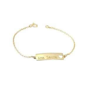 Pulseira Infantil Personalizada Prata 925 c/ Banho Ouro 18K