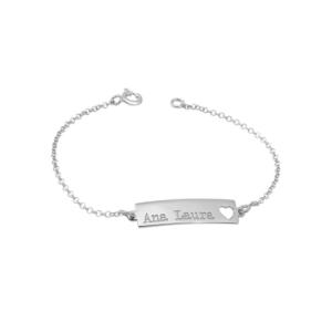 Pulseira Infantil Personalizada Prata 925 c/ Banho Ródio